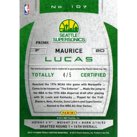 MAURICE LUCAS - SUPERSONICS - KARTA NBA