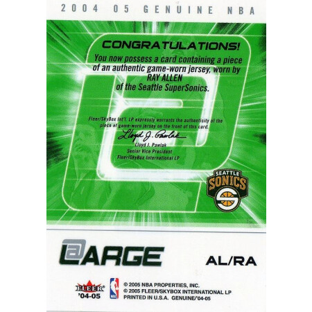 RAY ALLEN - SUPERSONICS - KARTA NBA