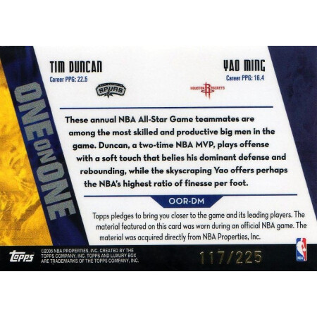 TIM DUNCAN / YAO MING - SPURS / ROCKETS - KARTA NBA