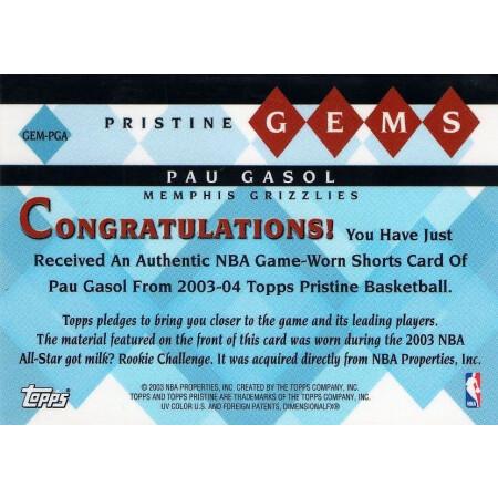PAU GASOL - GRIZZLIES - KARTA NBA