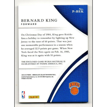 BERNARD KING - NY KNICKS - KARTA NBA - PATCH