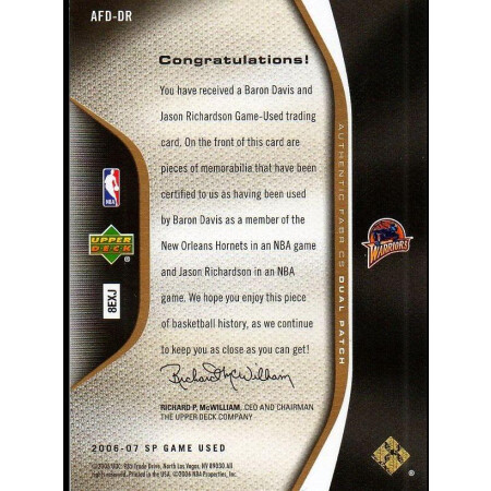 BARON DAVIS / JASON RICHARDSON - WARRIORS - KARTA NBA - PATCH