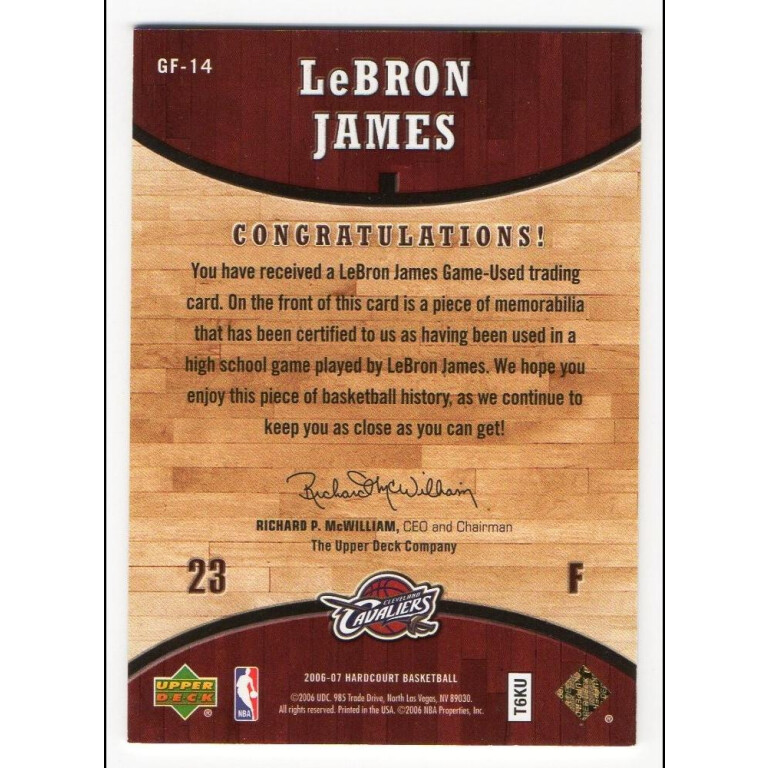 LEBRON JAMES - KARTA NBA Z KAWAŁKIEM PARKIETU